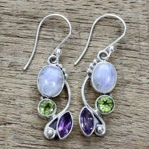 Amethyst Peridot Opal Silver Earrings NWT